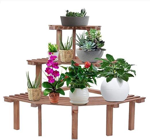Puesto de flores Nivel 3 Esquina Tiesto soporte Sostenible Natural ...