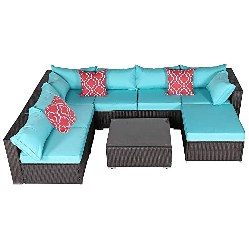 Do4U 8 Pieces Patio Furniture Sets Outdoor All-Weather Wicker Rattan Sofa Cushioned Seating and Back Sectional Conversation Set, Two Red Pillows Turquoise