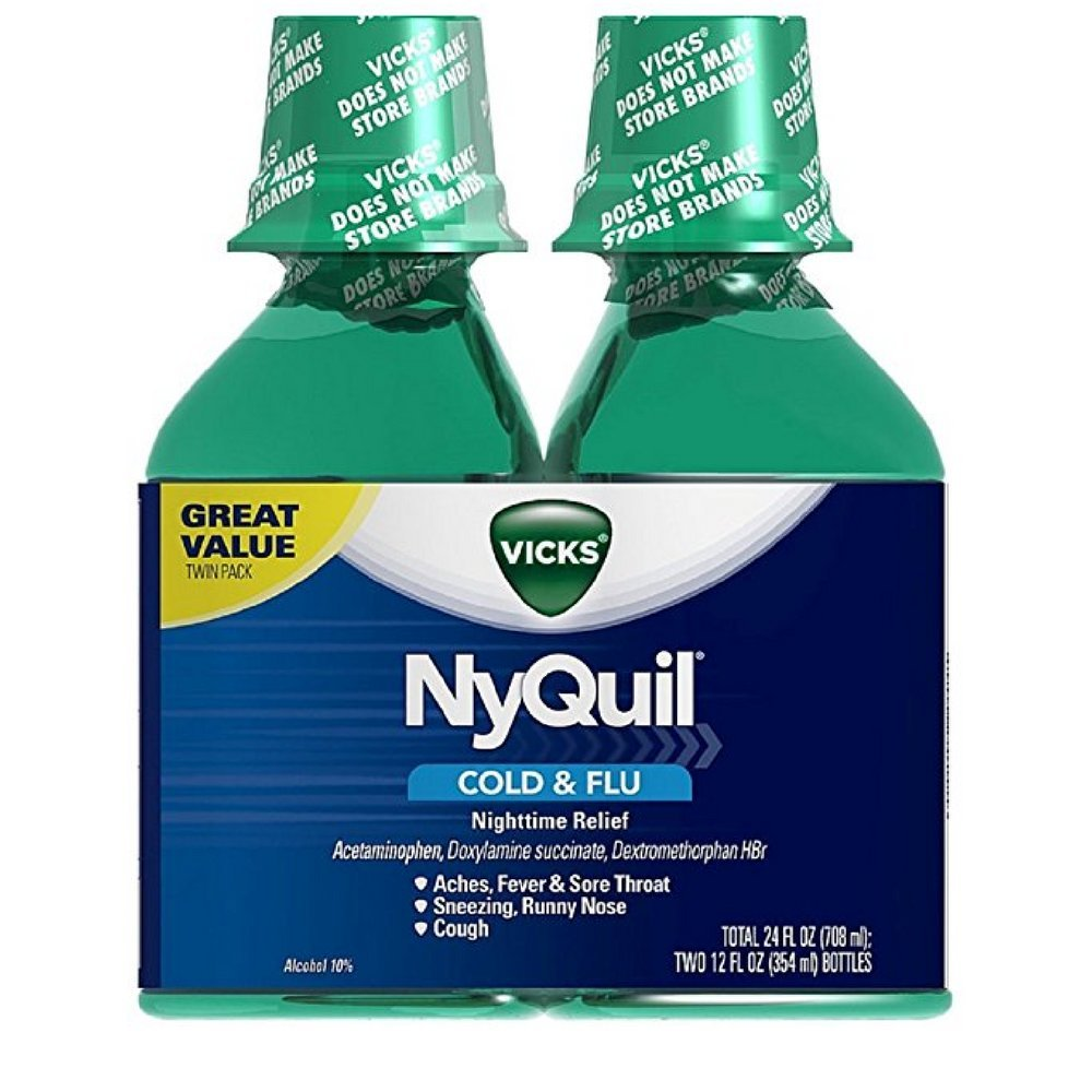 Vick NyQuil Cough Cold and Flu Nighttime Relief, Original Liquid, 2x12 Fl Oz by Vicks