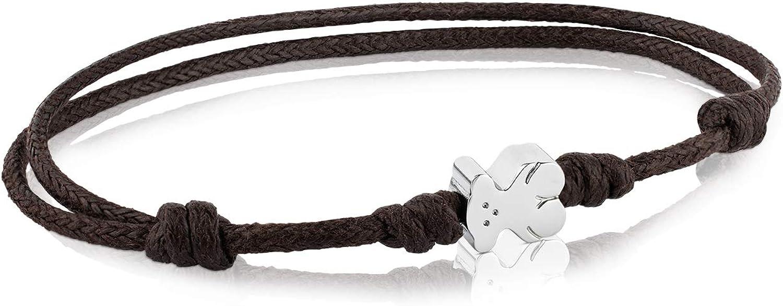 Pulsera TOUS Super Micro con cordón en color marrón y acero inoxidable.