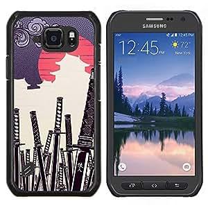 EJOOY---Cubierta de la caja de protección para la piel dura ** Samsung Galaxy S6Active Active G890A ** --JAPONESA DEL SAMURAI KATANA CEMENTERIO