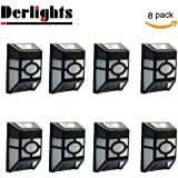 [Pack of 8] Derlights® Waterproof Solar Powered LED Wall Light for Outdoor Landscape Garden Yard Lawn Fence Deck Roof Lighting Decoration