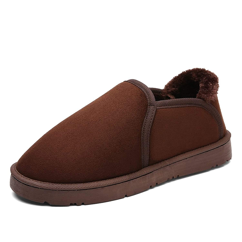 Leader Show Men's Winter Slip On Household Slipper, Fur Lining Warm Snow Shoes