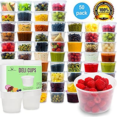 Plastic Food Storage Containers with Lids (Comparable to Tupperware) - Restaurant Deli Cups / Foodsavers, Baby & Portion Control - Kids Lunch Boxes - Watertight / Leakproof Takeout Set (15.2oz, 50pcs)