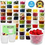 Plastic Food Storage Containers with Lids - Restaurant Deli Cups / Foodsavers, Baby & Portion Control - Kids Lunch Boxes - Watertight / Leakproof Takeout Set (15.2oz, 50pcs) (Kitchen)