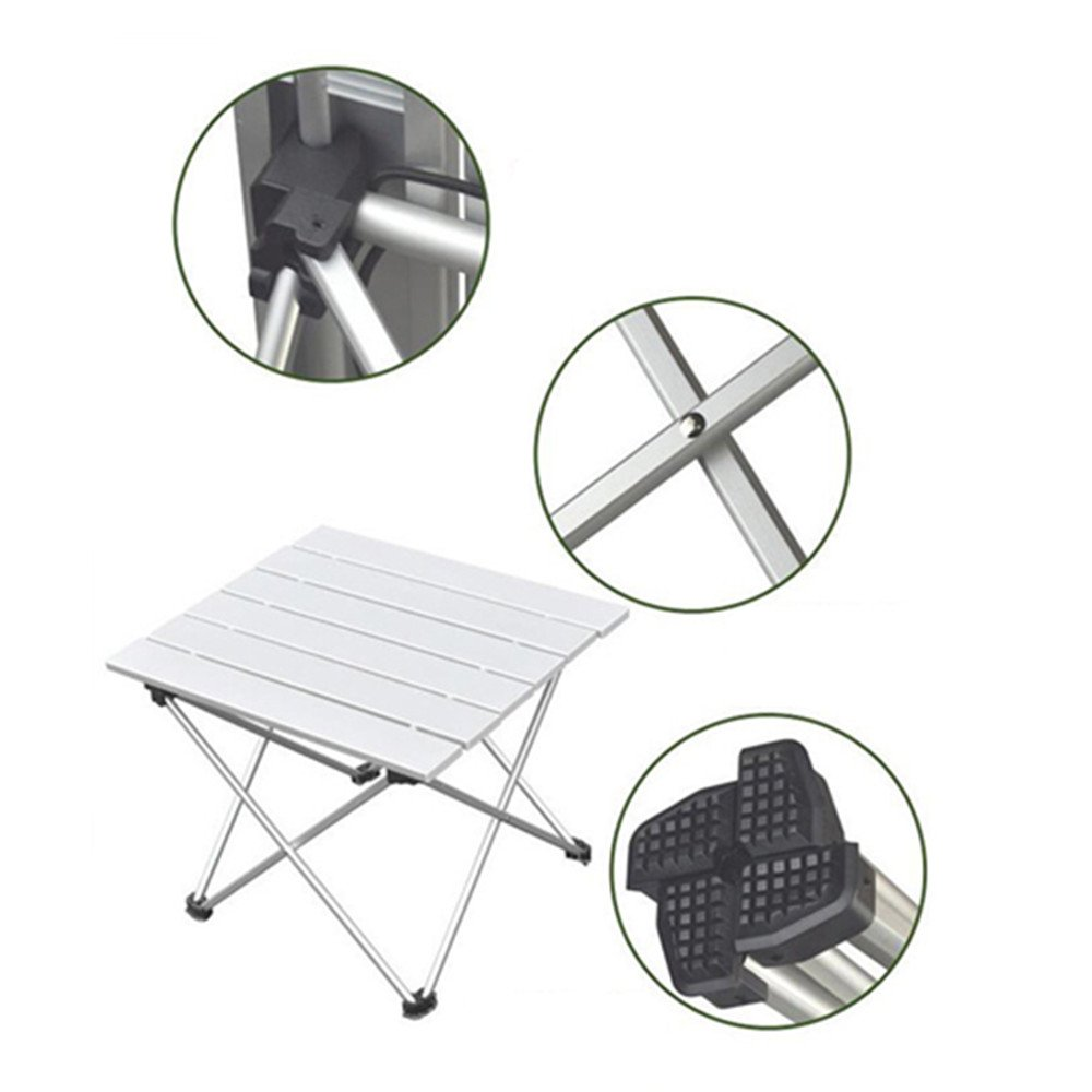 TechCode Aluminum Camping Table, Portable Folding Collapsible Roll Up Ultralight Aluminum Table with Carrying Bag for Indoor and Outdoor Picnic, Beach, Hiking, Travel, Fishing, BBQ (Small)