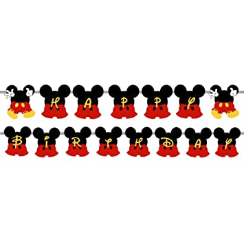 Party Propz Mickey Mouse Happy Birthday Banner For Decoration Amazonin Toys Games