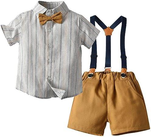 AFCITY Bebés Traje de Bautizo Niños Verano de Dos Piezas Traje a Rayas de Manga Corta Camisa + Pantalones Cortos de niño Tirantes de Moda de Dos Piezas Ceremonia Fiesta Verano Ropa: