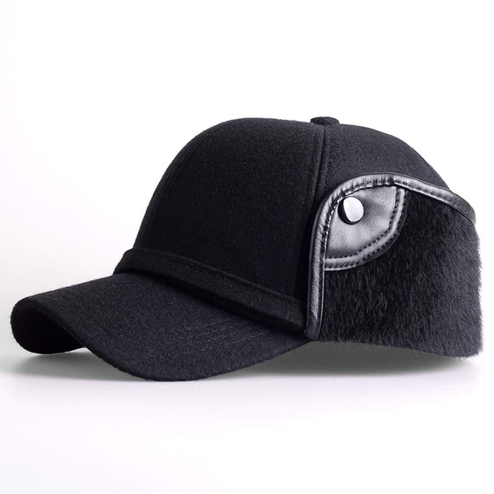 YOYEAH Winter Wool Baseball Cap Outdoor Windproof Fleece Earflap Hat Soft Faux Fur Hunting Hat for Men Black