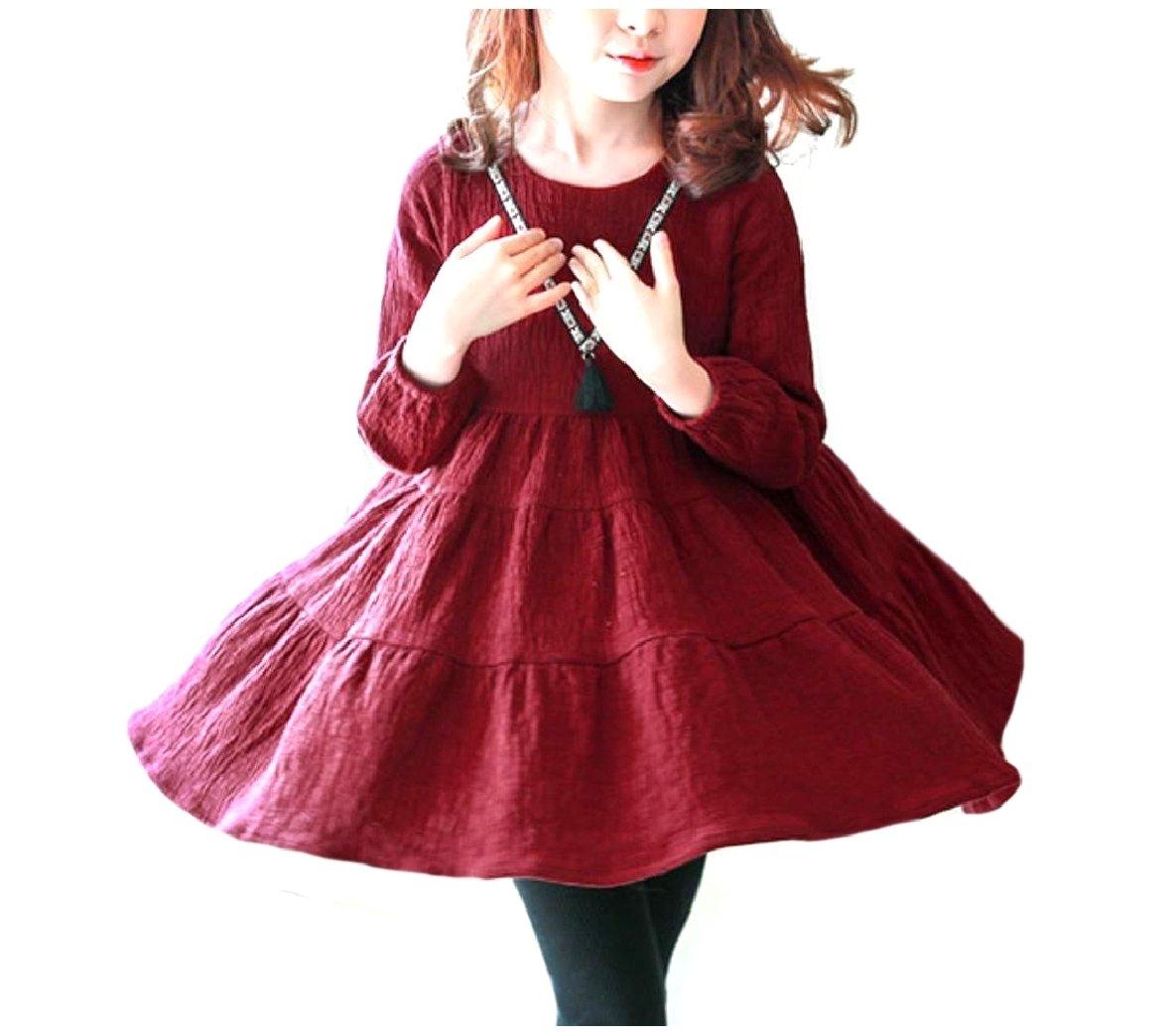 Vska Big Girls Casual Fine Cotton Long-Sleeve Rockabilly Skirt Dress Wine Red 160