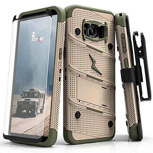 Zizo Bolt Series Compatible with Samsung Galaxy S8 Case Military Grade Drop Tested with Tempered Glass Screen Protector, Holster Desert TAN CAMO Green (Tan Belt Holster)