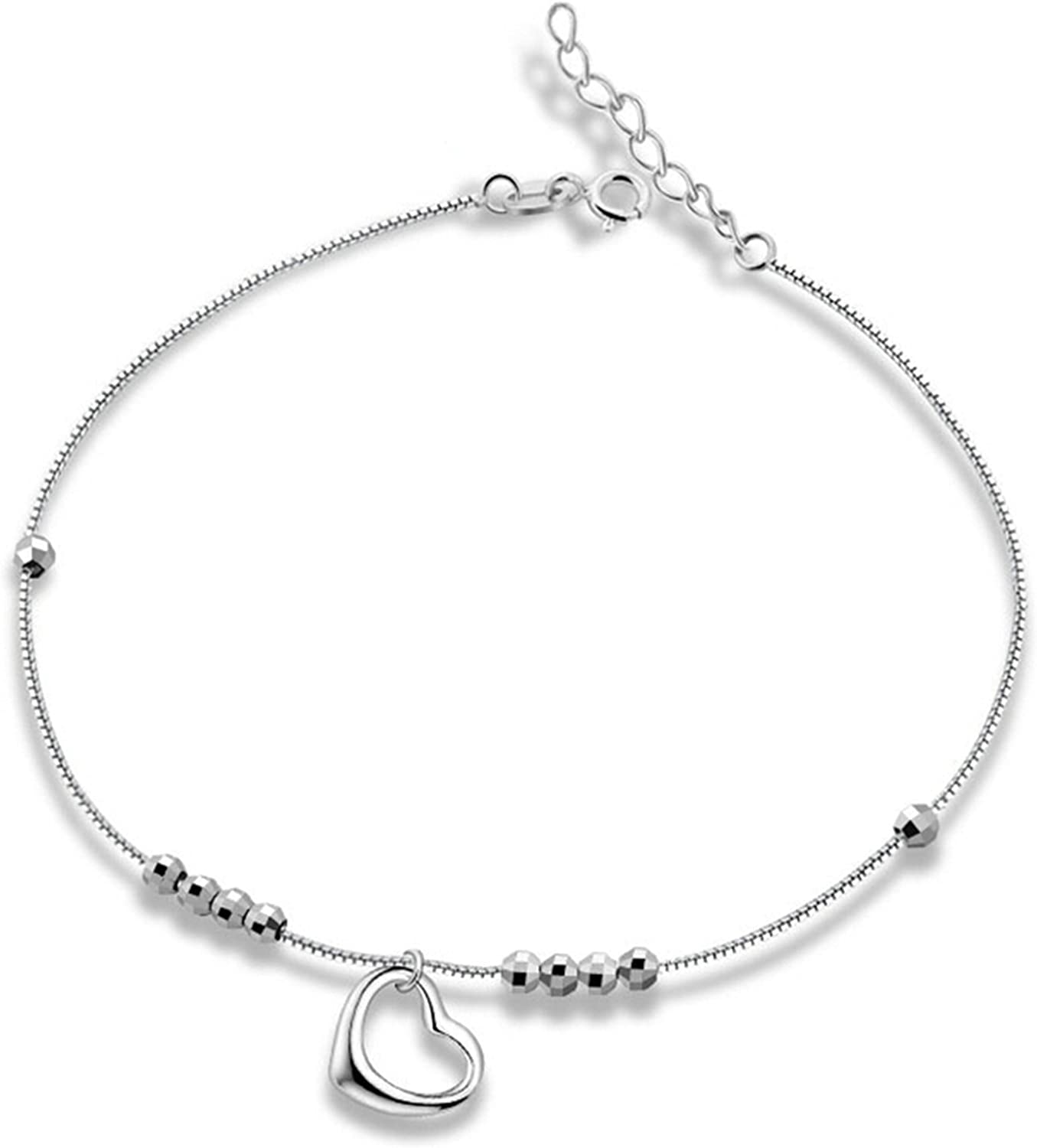 Adisaer Silver Ankle Bracelet for Womens Heart Pendant Beads Chain Anklet Beach Foot Jewelry for Girls