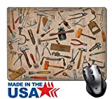 """MSD Natural Rubber Mouse Pad/Mat with Stitched Edges 9.8"""" x 7.9"""" vintage collectible tools mix collage over old stain paper IMAGE 26005113"""
