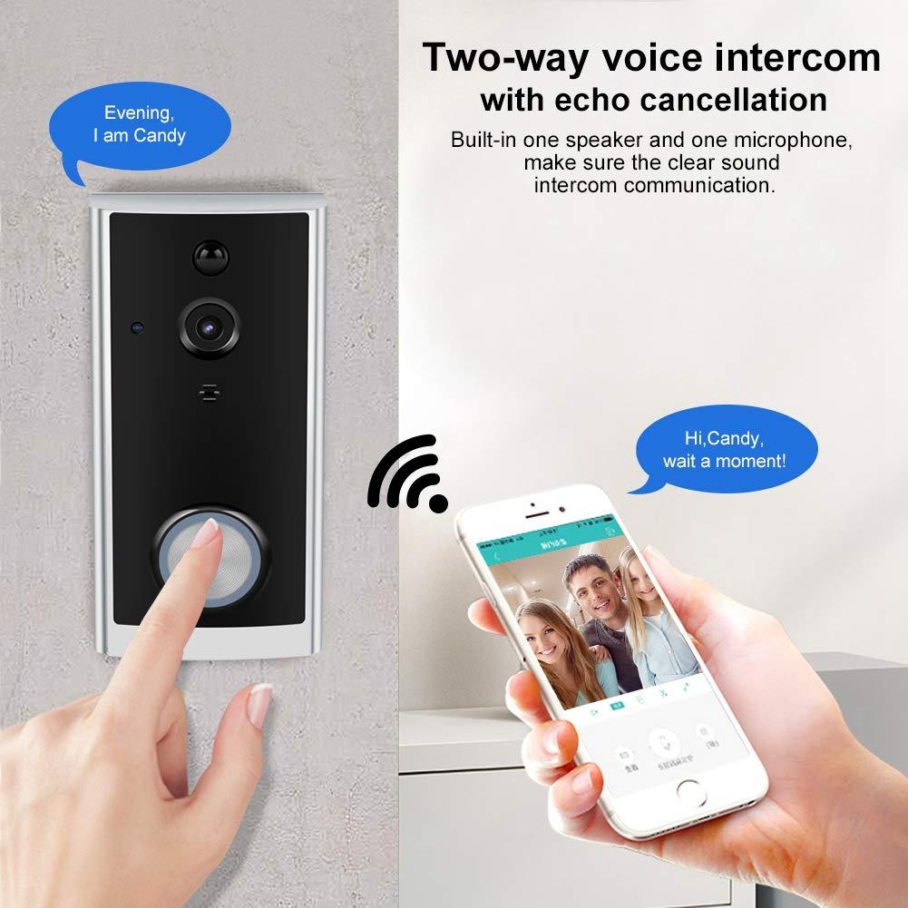 Simlug WiFi Video Doorbell Camera , HD 720P WiFi Video Camera Doorbell Timbre inal/ámbrico de bajo Consumo Trabajo con Alexa Echo