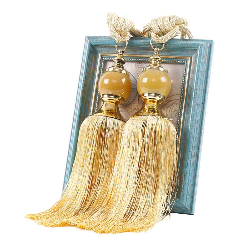 65 cm Ynnxia Lot de 2 embrasses de Rideaux /à Pompons pour d/écoration de fen/être Orange