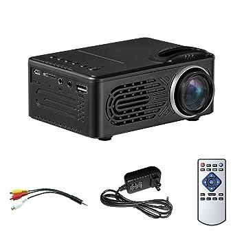 SODIAL Mini proyector LCD, Multimedia Proyector de cine en casa portatil Soporte 16: 9 y 4: 3 Full HD 1080P, USB, AV, Tarjeta TF para 25-80 pulgadas ...
