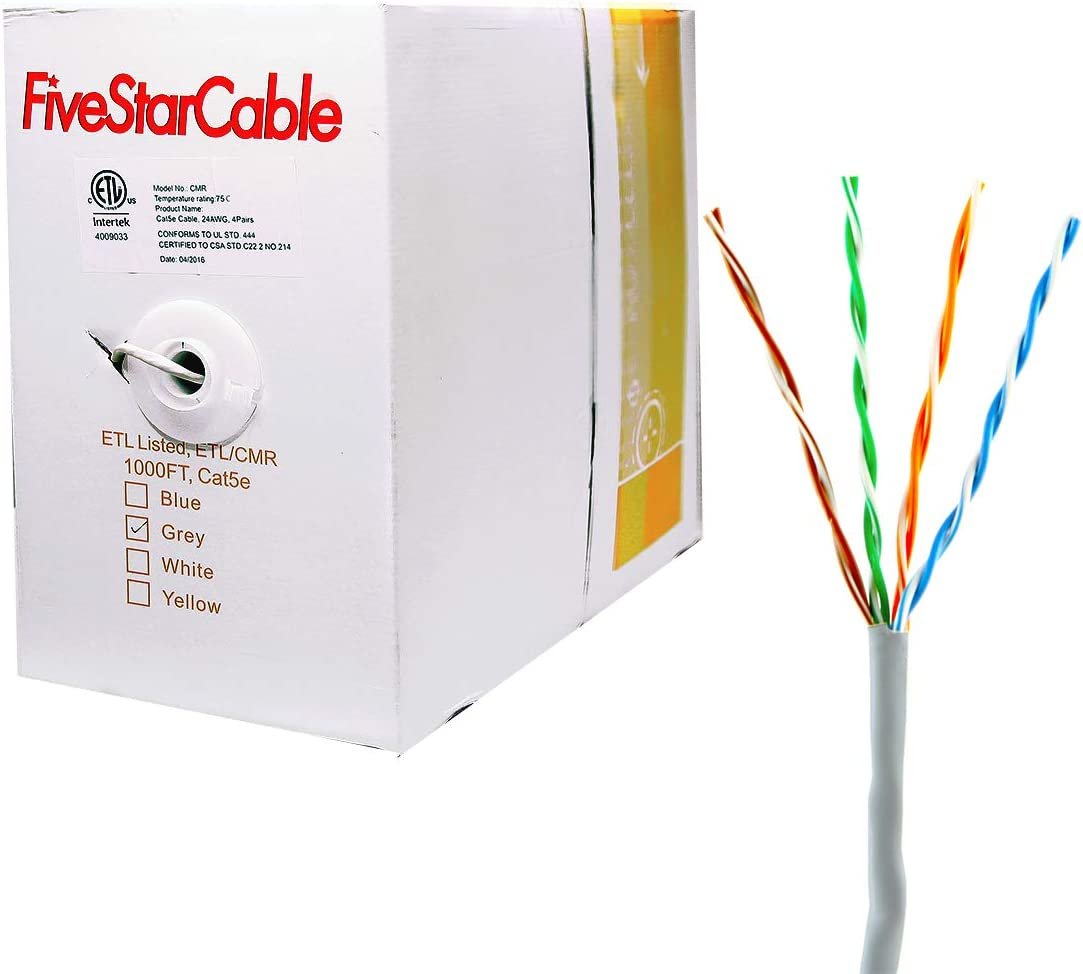 ideal rj45 wiring diagram amazon com five star cable cat5e 1000 ft cmr rated 24awg solid  five star cable cat5e 1000 ft cmr rated