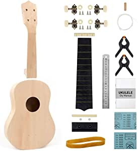 DIY Ukulele Kit For Kids Beginners Soprano Ykelele Kit Bass Wood Build Your Own Uke with Full Accessories