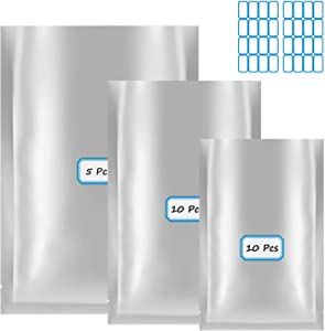 Mylar Bags, 25 Pieces 3 Sizes Mylar Aluminum Foil Bags Mylar Bags for Food Storage Flat Heat Sealing Bags Ideal for Long Term Food Storage (5 x 7 Inch, 6 x 9 Inch, 8 x 11 Inch)