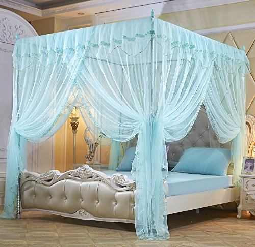 Nattey Flowers 4 Corners Princess Bedding Curtain Canopy Mosquito Netting Canopies (Queen, Light (Home Queen Canopy Bed)