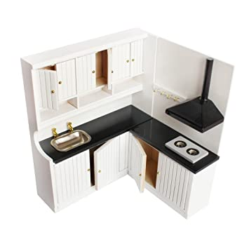 1:12 Dollhouse Miniatura De Madera Muebles De Cocina Gabinete Cocina Estufa Fregadero Blanco