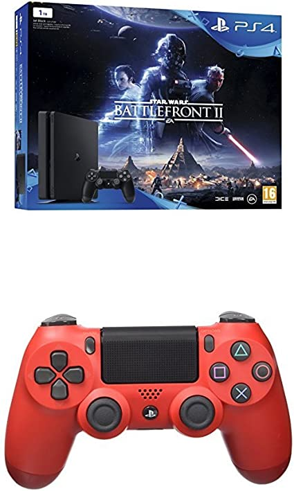 PlayStation 4 (PS4) - Consola 1 TB + Star Wars Battlefront + Dualshock 4 V2 Mando Inalámbrico, Color Rojo (Magma Red): Amazon.es: Videojuegos