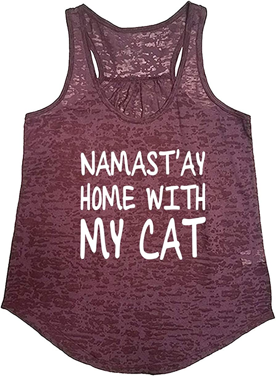 Tough Cookie's Women's Yoga Burnout Namastay at Home with My Cat Tank Top