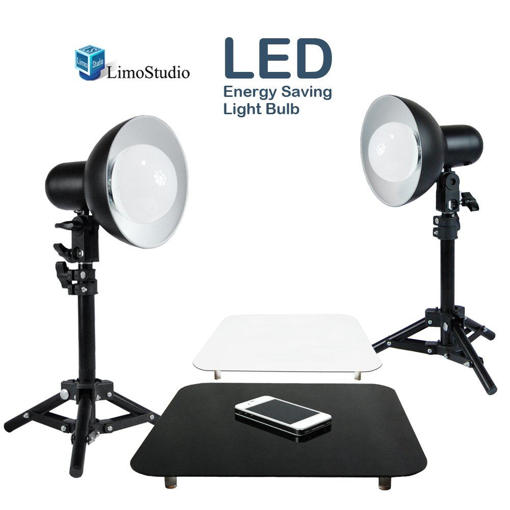 LimoStudio 2 x 18W LED Table Top Lighting Stand Kit with 12'' Acrylic Black & White Reflective Photo Background, Photo Studio, AGG1847