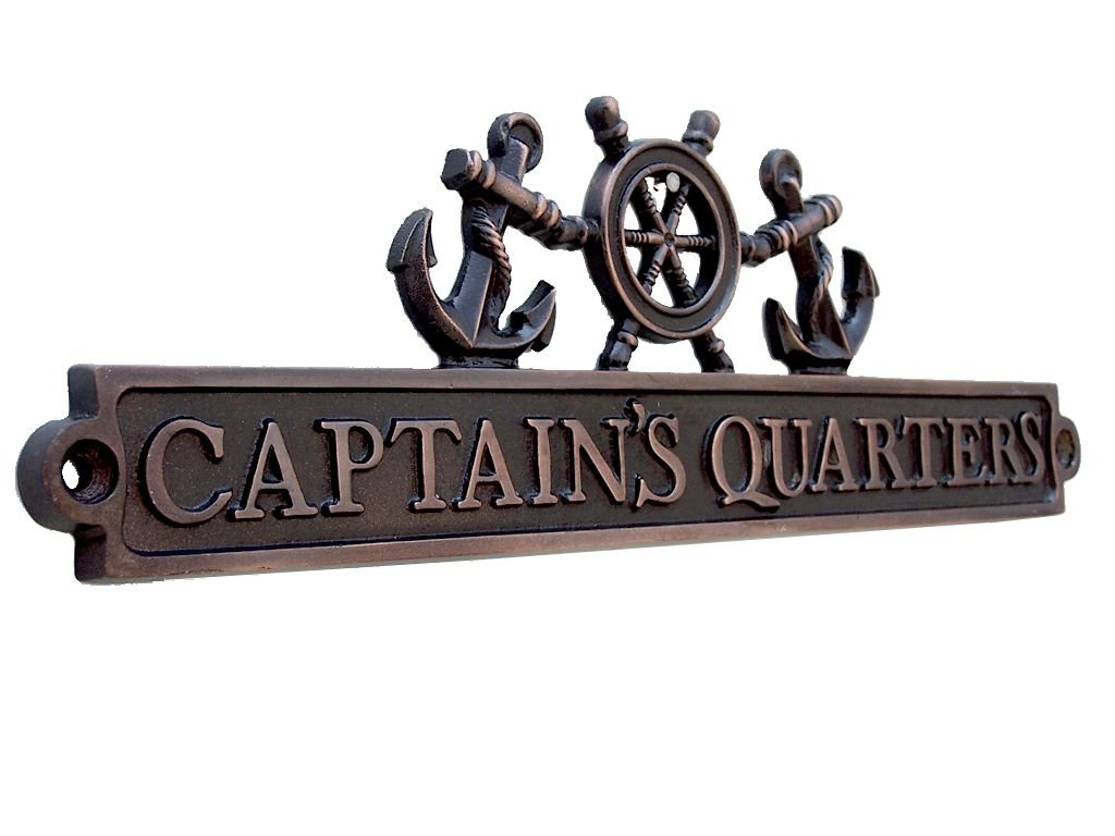 Handcrafted Model Ships Antique Copper Captains Quarters Sign with Ship Wheel and Anchors 12''
