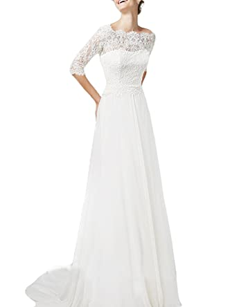 de51307b5a4 OYISHA Women s Lace Wedding Dresses with Short Sleeve Long Boat Neck Bride  Dress Ivory 2