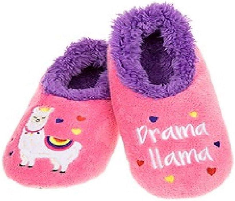 Creature Comfort Ladies Non Slip Sherpa Slipper Snoozies Llama Flamingo Owl Bee