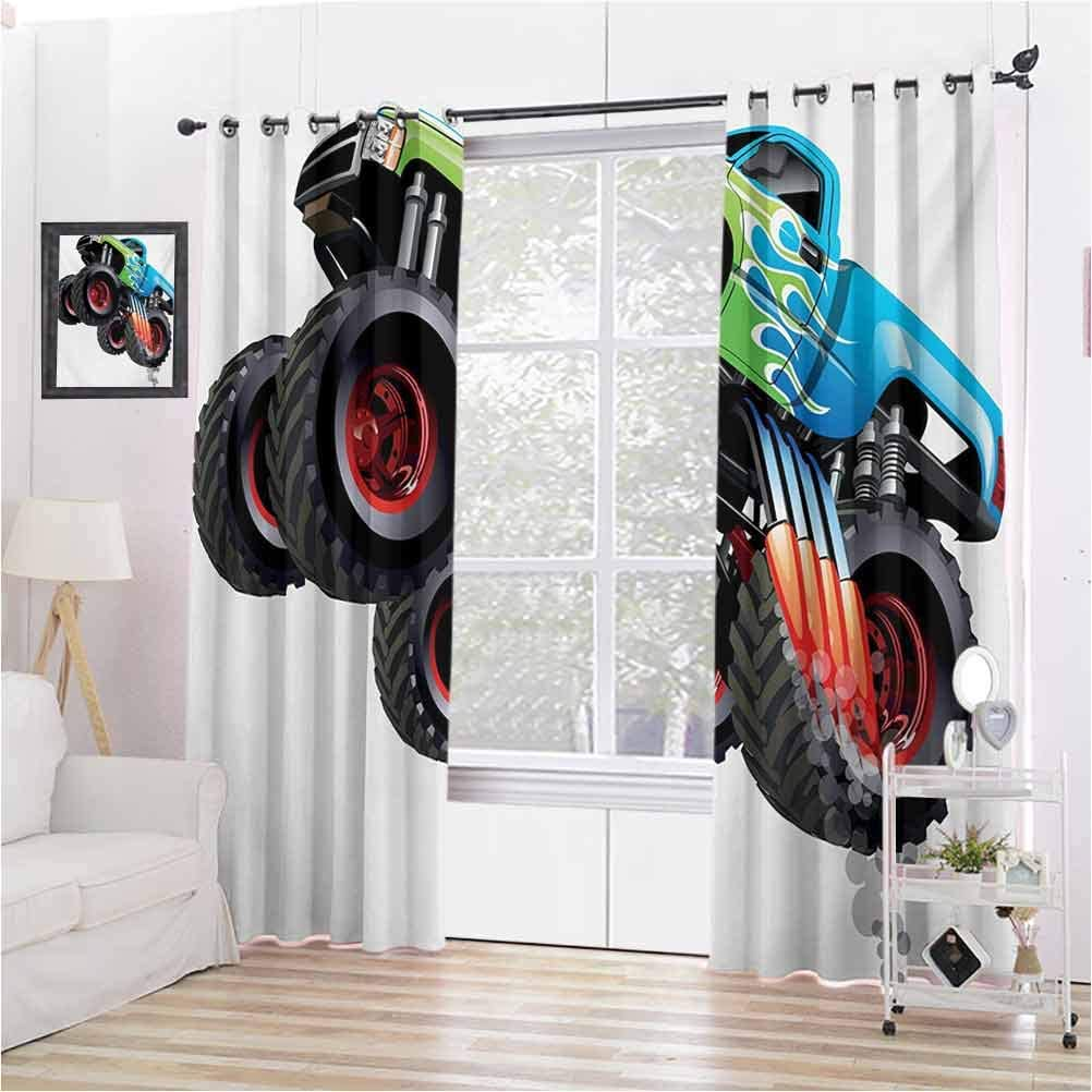 Amazon Com Aishare Store Room Darkening Window Curtains Cartoon Monster Truck Cool Vehicle Modified To The Perfection Colorful Design 2 Panels 84 Inches Long Curtains For Bedroom Aqua Green Black Home Kitchen