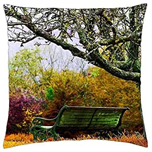 Bench in Autumn Nature - Throw Pillow Cover Case (18