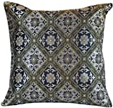 Hand Embroidered Brocade Pillow Cover, Set of 2 (Silver and Gold)