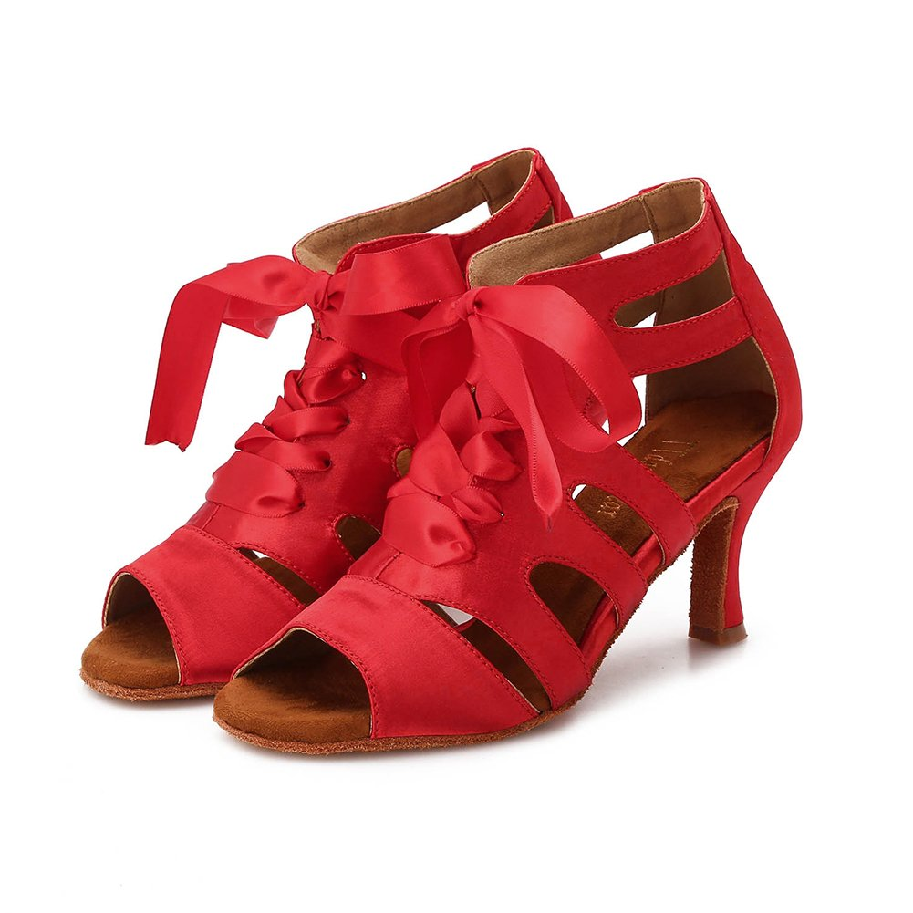 TTdancewear Women Ballroom Dance Shoes Latin Salsa Bachata Wedding Dance Dancing Shoes 7- Red 3inch by TTdancewear (Image #3)