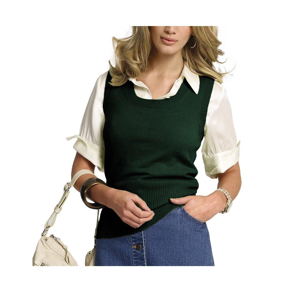 Parisbonbon Women's 100% Cashmere Scoop Neck Vest Color Hunter Green Size 3X