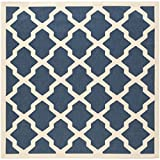 Safavieh Courtyard Collection CY6903-268 Navy and Beige Indoor/Outdoor Square Area Rug, 4-Feet Square