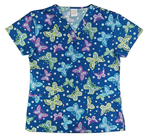 CaringPlus Scrubs Women's Top V-neck Printed Summer Butterflies Blue (Medium)