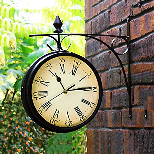 Fengfeng Bracket Clock, Clocks Outdoor Garden Outside Double Sided Bracket Wall Clock Vintage Two Sided Silent Clock Living Room Mute Clock for Use Indoors and Outdoors - 22Cm Diameter