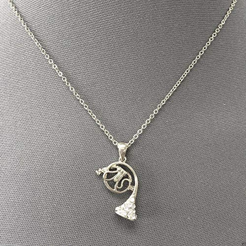 (Dainty Simple Silver Chain French Horn Rhinestone Pendant Necklace LL-6503)