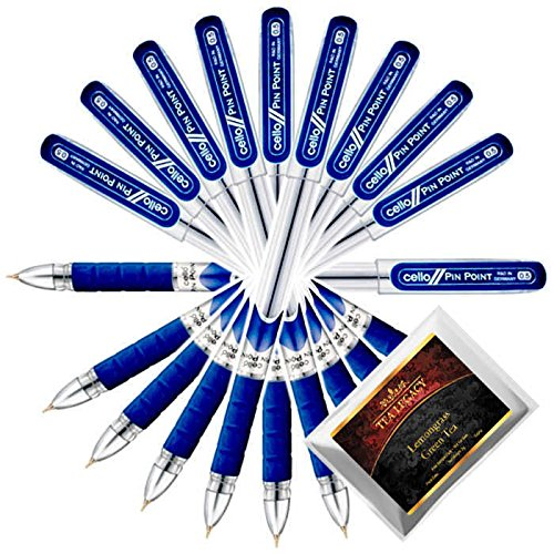 Cello Pinpoint Blue Pen Superfine Writing 0.5 mm Tip + TeaLegacy Free Sampler (10 Ball Point Pens) School & College Exam Time Series Low Pressure High Volume Elastic Grip