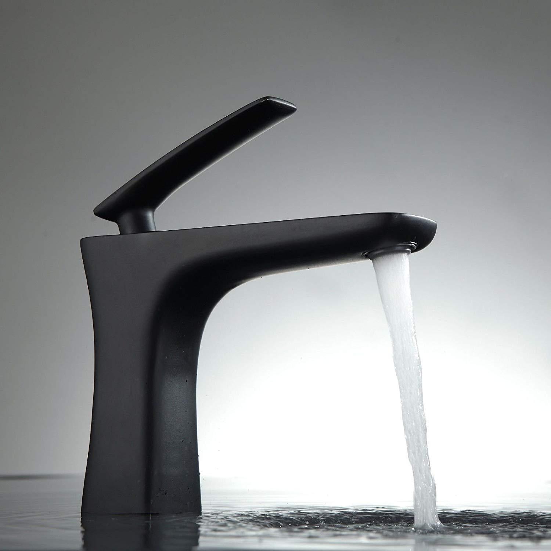 JingJingnet タップキッチンタップ洗面台の蛇口冷たいとお湯ミキサーバスルームミキサー洗面器ミキサータップ銅コーティングシングルホールミキサー用キッチンまたは浴室タップ (Color : ブラック) B07SKP3D48 ブラック