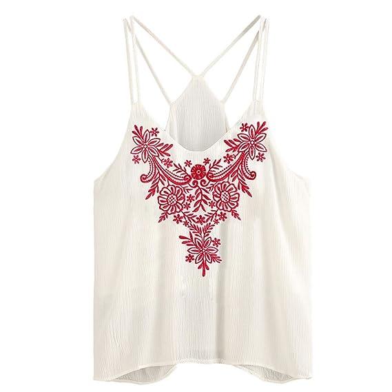 Blusa Mujeres Camisetas sin Mangas,Dama Sexy Tiras Floral Blusa de la Camiseta Ropa Sin