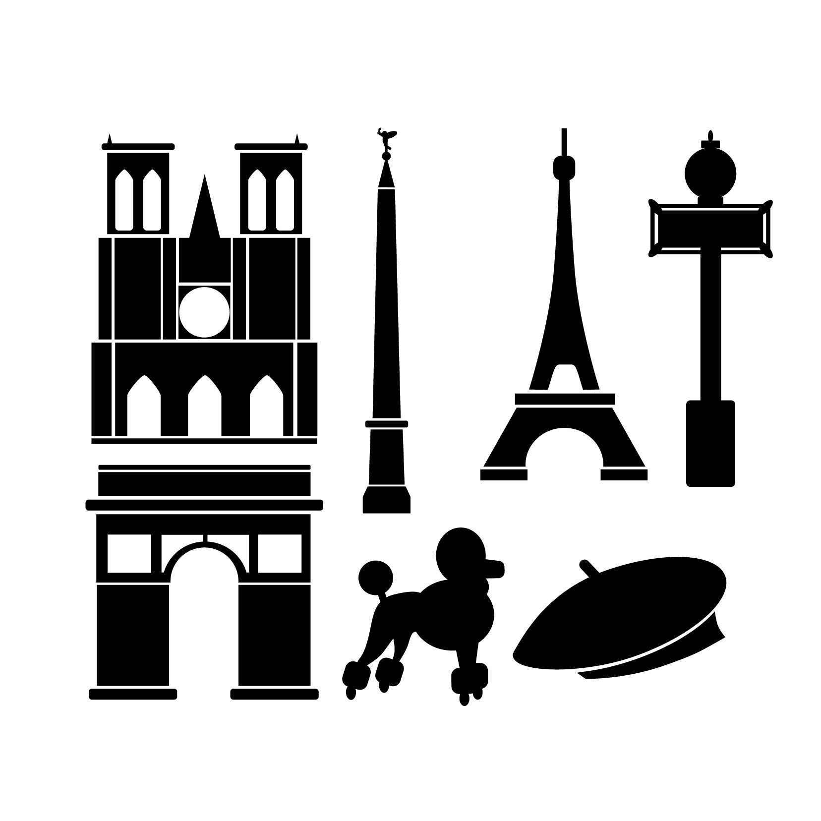 Paris Icons - 5 sets, 35 icons - Vinyl Wall Art Decal for Homes, Offices, Kids Rooms, Nurseries, Schools, High Schools, Colleges, Universities, Interior Designers, Architects, Remodelers