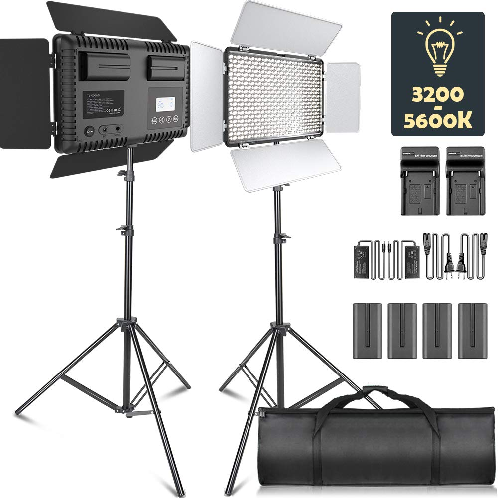 LED Video Light, SAMTIAN Dimmable Bi-Color 600 LED Studio Lights Lighting Kit: 3200K-5600K LED Panel Light with Barndoor, 2M Light Stand Carry Bag for YouTube Studio Photography Video Shooting