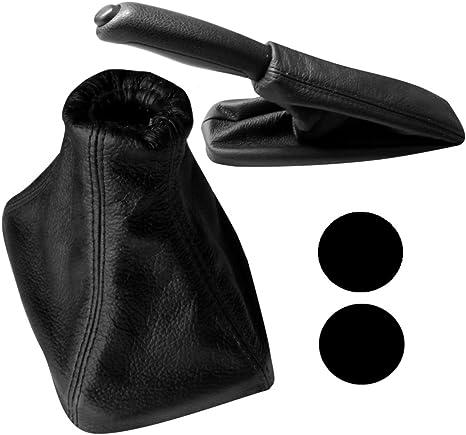 Cuffia leva cambio e freno a mano di 100/% VERA PELLE nero con cuciture nere AERZETIX