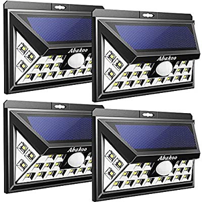 Abakoo 3RD-GEN Solar Light, 24 LEDs Super Bright Outdoor Motion Sensor Solar Powered Lights Wide Lighting Angle (270 Degree) with 3 LEDs Both Side for Wall, Driveway, Patio, Yard, Garden