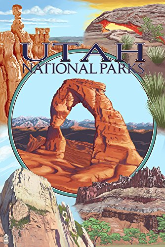 Utah National Parks - Delicate Arch Center (9x12 Art Print, Wall Decor Travel Poster)