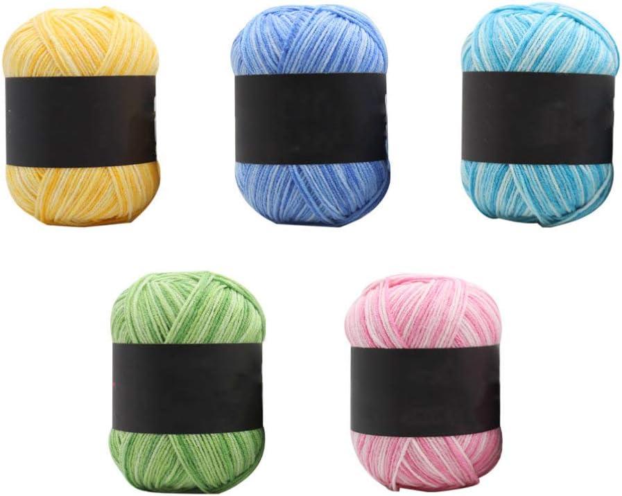 SUPVOX 5 rollos hilo de algodón hilo crema hilo de lana hilo de tejer hilo de ganchillo para bricolaje sombreros artesanales suéter manta bufanda estilo de fabricación 1