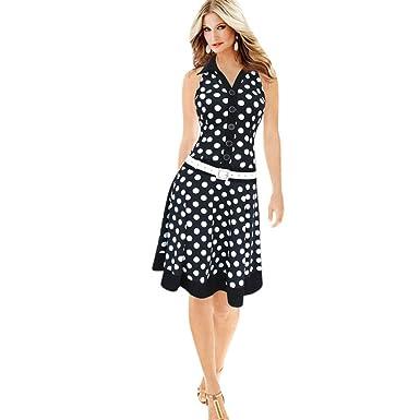 Sommer Kleider Xinan Damen Ärmellos V-Ausschnitt Sommerkleid ...